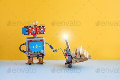 Robot moving powered pallet jack with wooden blocks. Forklift cart mechanism on blue floor, yellow