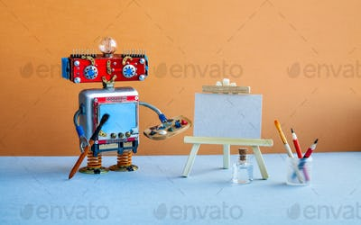 Robot artist begins to create a drawing. White paper mockup, wooden easel and artist's tools