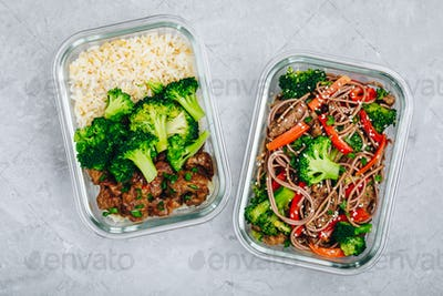 Beef and broccoli stir fry meal prep lunch box containers with rice or noodles