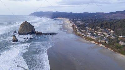 Aerial View Over Cannon Beach Pacific Ocean Coast Oregon