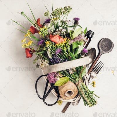 Healthy eating and herbal medicine concept, flat lay, top view