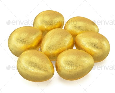 Golden Easter eggs isolated