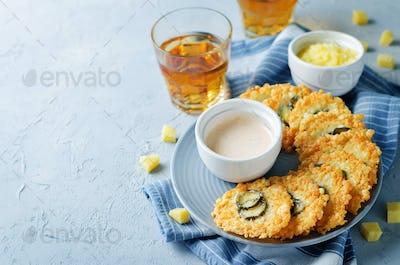 Jalapeno Cheese Crisps with Greek Yogurt Pepper Sauce