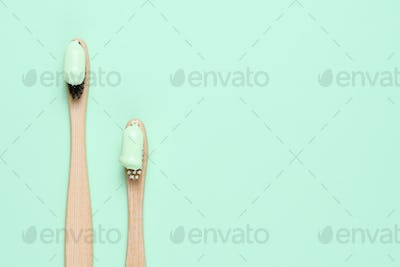 Bamboo toothbrushes with natural toothpaste top view