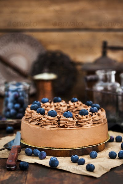 Delicious homemade chocolate cheesecake decorated with fresh blu