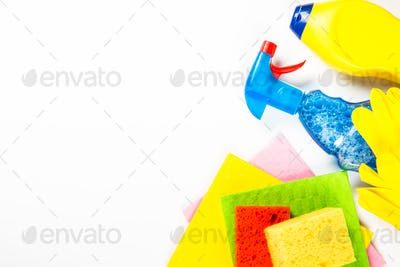 Cleaning product, household on white top view