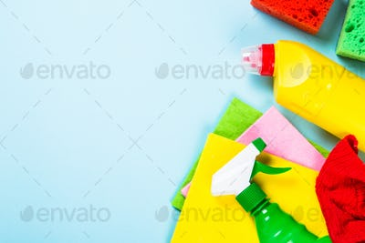 Cleaning product, household on blue top view