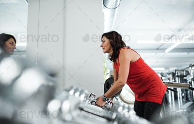 A female senior in gym doing exercise with dumbbells. Copy space.