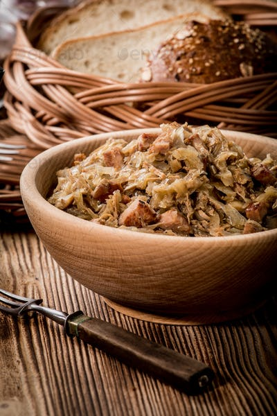 Bigos - stewed cabbage with meat,dried mushrooms and smoked sausage.