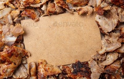 Shawarma, gyros, traditional turkish, greek meat food, background. Blank paper label, copy space