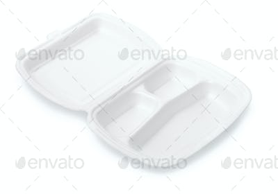 Small triple compartment foam take out food container