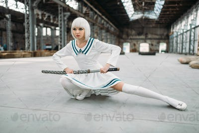 Anime style blonde woman with sword