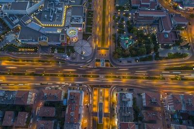 Aerial Night View City