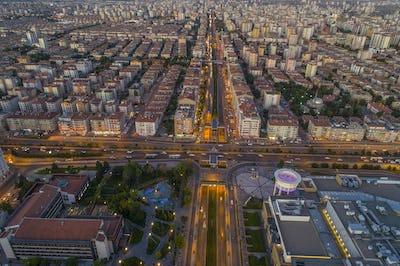Urban Street Scenery Traffic Lights Aerial View