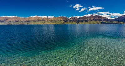 Aerial drone view, north side of Lake Wanaka at Makarora, South