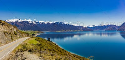Panoramic photos of Lake Hawea and mountains, South Island, New