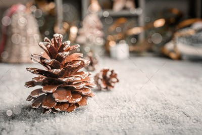 Bright christmas greeting card with pinecone
