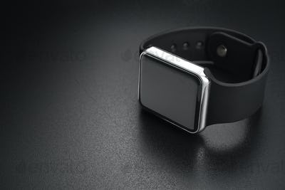 Smart wrist watches on black