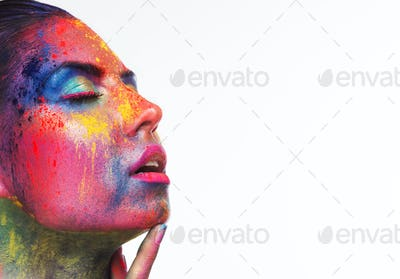 Sensual woman portrait with bright art make-up