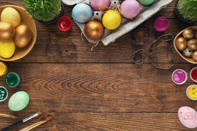 Frame of easter eggs and forms for baking