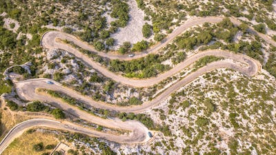 Aerial top down view of Hairbpin bend road