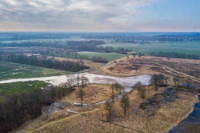 Aerial view of Frisian landscape