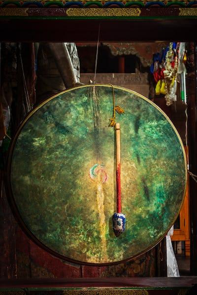 Ritual drum in Hemis monastery. Ladakh, India