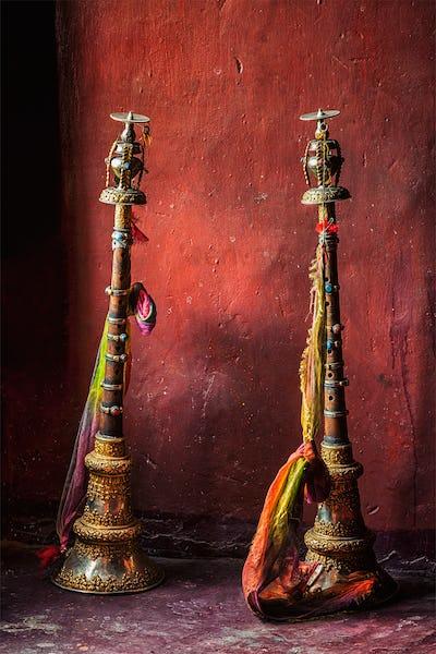 Buddhist prayer horns in Tibetan monastery