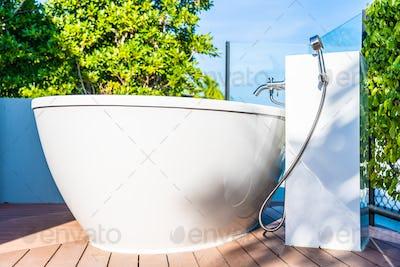 Beautiful luxury white bathtub decoration interior of bathroom