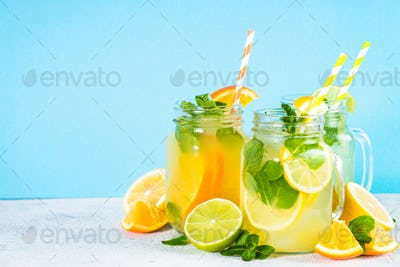 Lemonade, mojito and orange lemonade