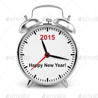 Year 2015 classic alarm clock isolated