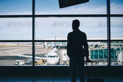 Traveler in airport terminal