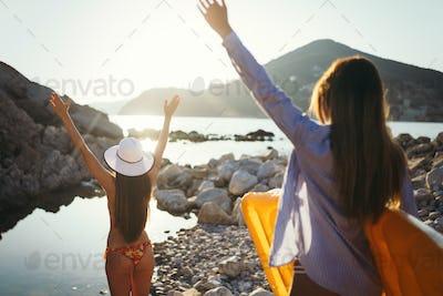 Sexy young beautiful girls having fun on the beach