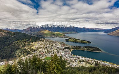 Panoramic view of The remarkables, Lake Wakatipu and Queenstown,