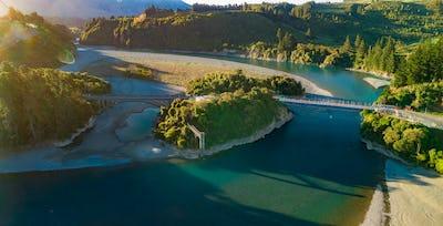 Bridges over Rakaia river, Rakaia Gorge, New Zealand, South Isla