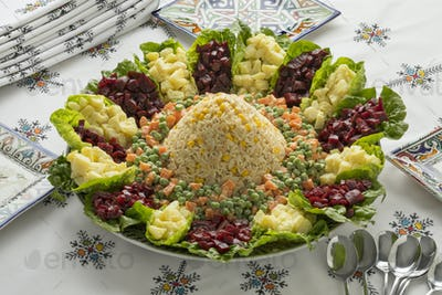 Dish with traditional Moroccan mixed salad