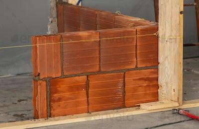 Masonry wall bricks.