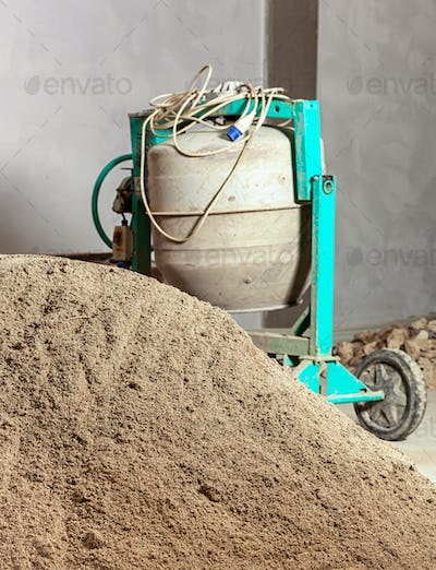 Industrial cement mixer machinery.