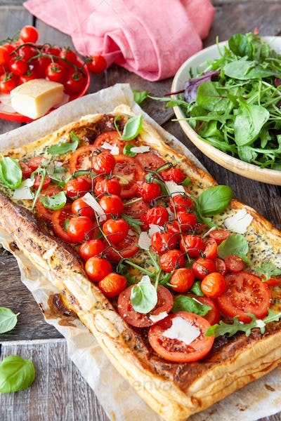 Savory puff pastry with fresh tomatoes