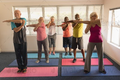 Front view of group of active senior people performing exercise at home