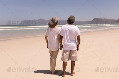 Rear view of senior couple holding hands and walking on beach in the sunshine