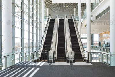 Front view of escalators in an empty modern office building