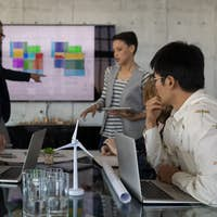 Mixed race business people having discussion in a meeting at modern office
