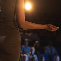Rear view of businesswoman giving presentation in front of audience in auditorium