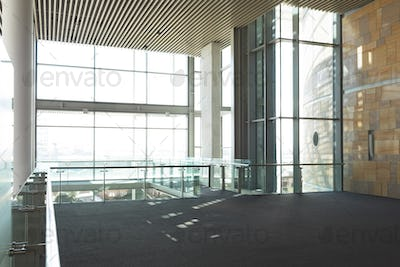 Empty commercial modern business office balcony with high ceiling