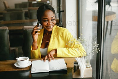 Stylish businesswoman working in a office