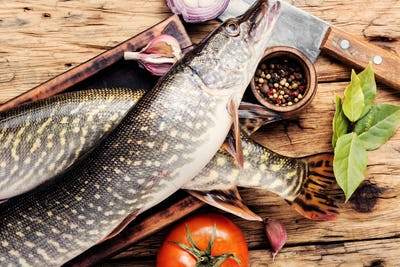Fish pike on the kitchen board