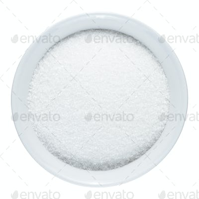 Sugar in bowl isolated on white background