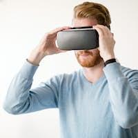 Man wearing future technology VR glasses