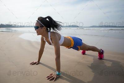 Push up on beach